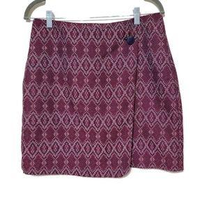 NWT Loft faux wrap skirt geometric pattern